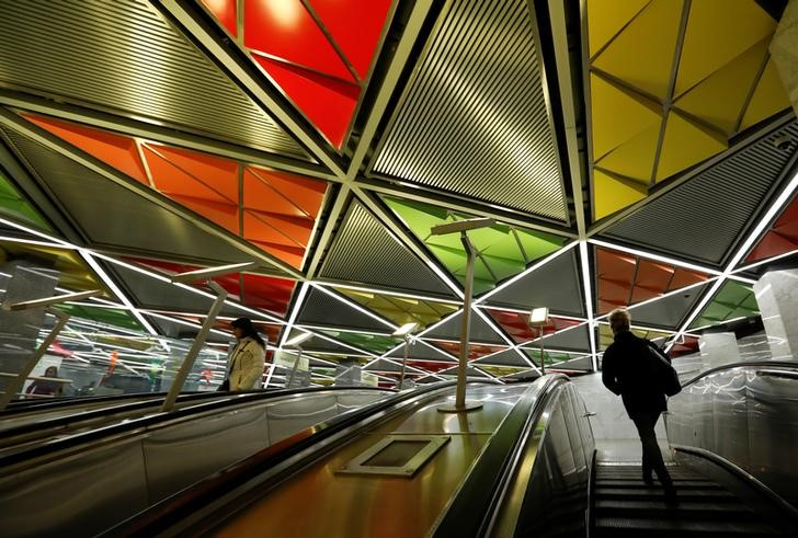 People ride the escalators at Sretensky Bulvar metro station in Moscow, Russia, April 12, 2017. Credit: Reuters/Grigory Dukor