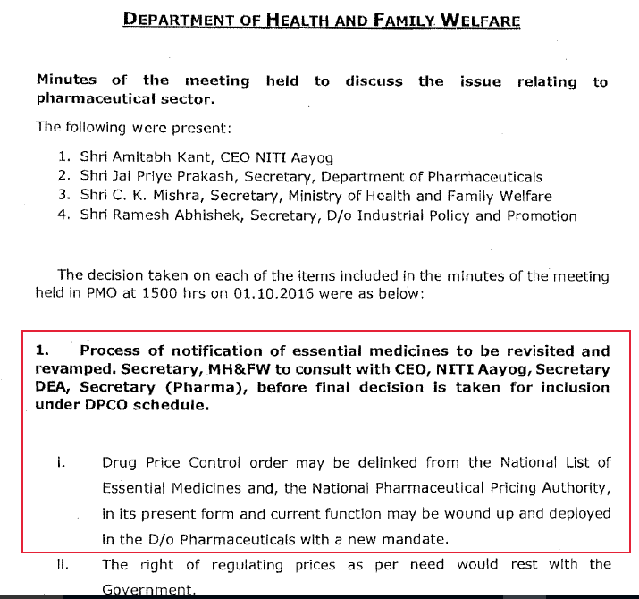 Minutes of the meeting in the PMO on October 19, 2016, regarding drug pricing and other issues