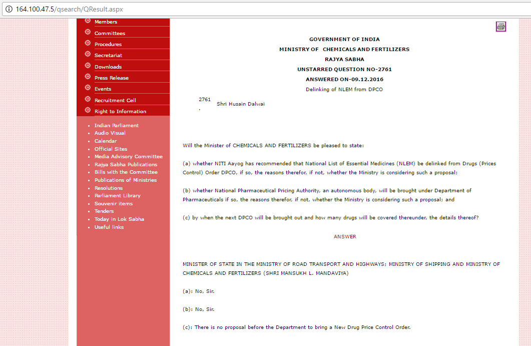 Replies given by MoS Mansukh L. Mandaviya on price deregulation