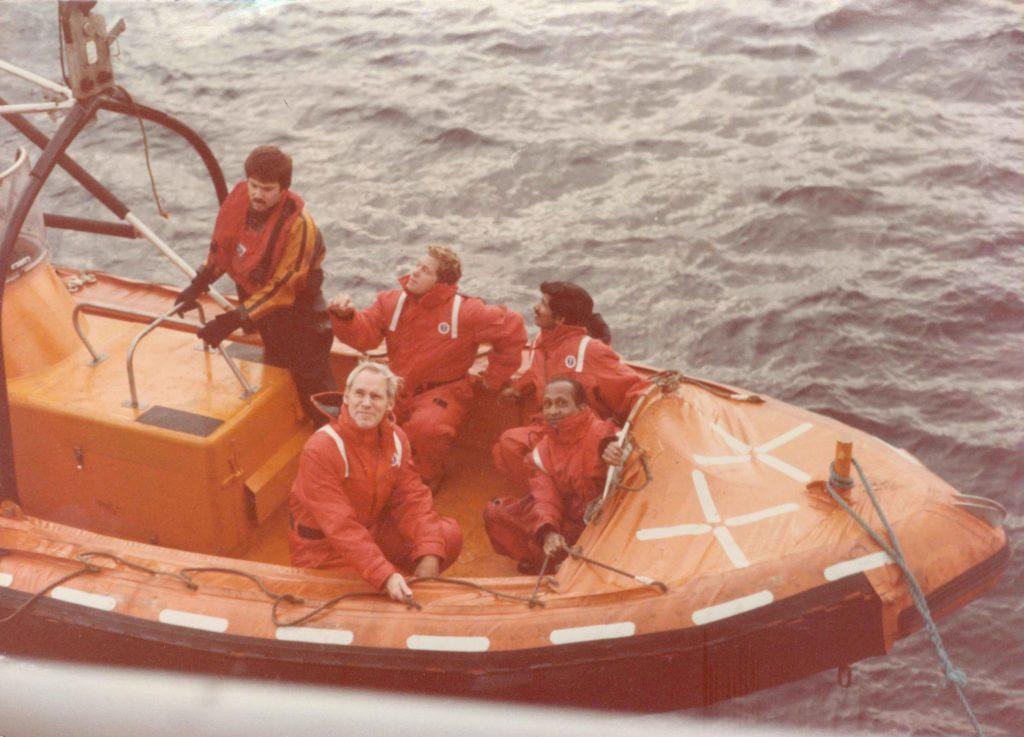 Ramachandran and others shuttling between the ships John Cabot and Kreuzturm. Credit: V. Ramachandran