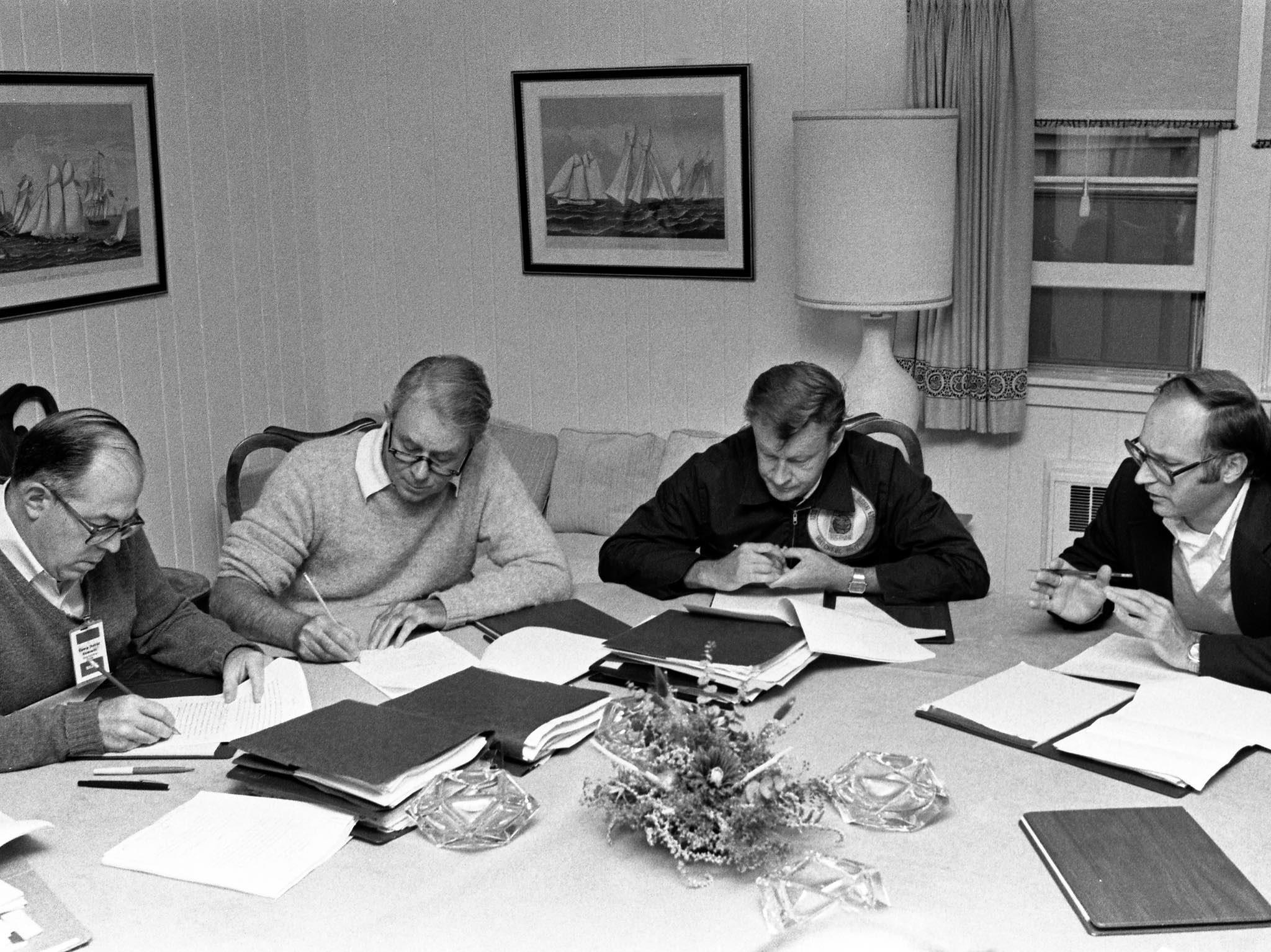 Vance and Brzezinski at Camp David, September 14, 1978. Courtesy: Jimmy Carter Library