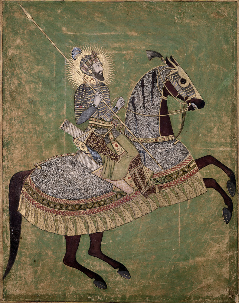 This portrait of the Mughal Emperor Aurangzeb mounted on a horse, and ready for battle, was originally produced circa 1660. Courtesy: Stanford University Press