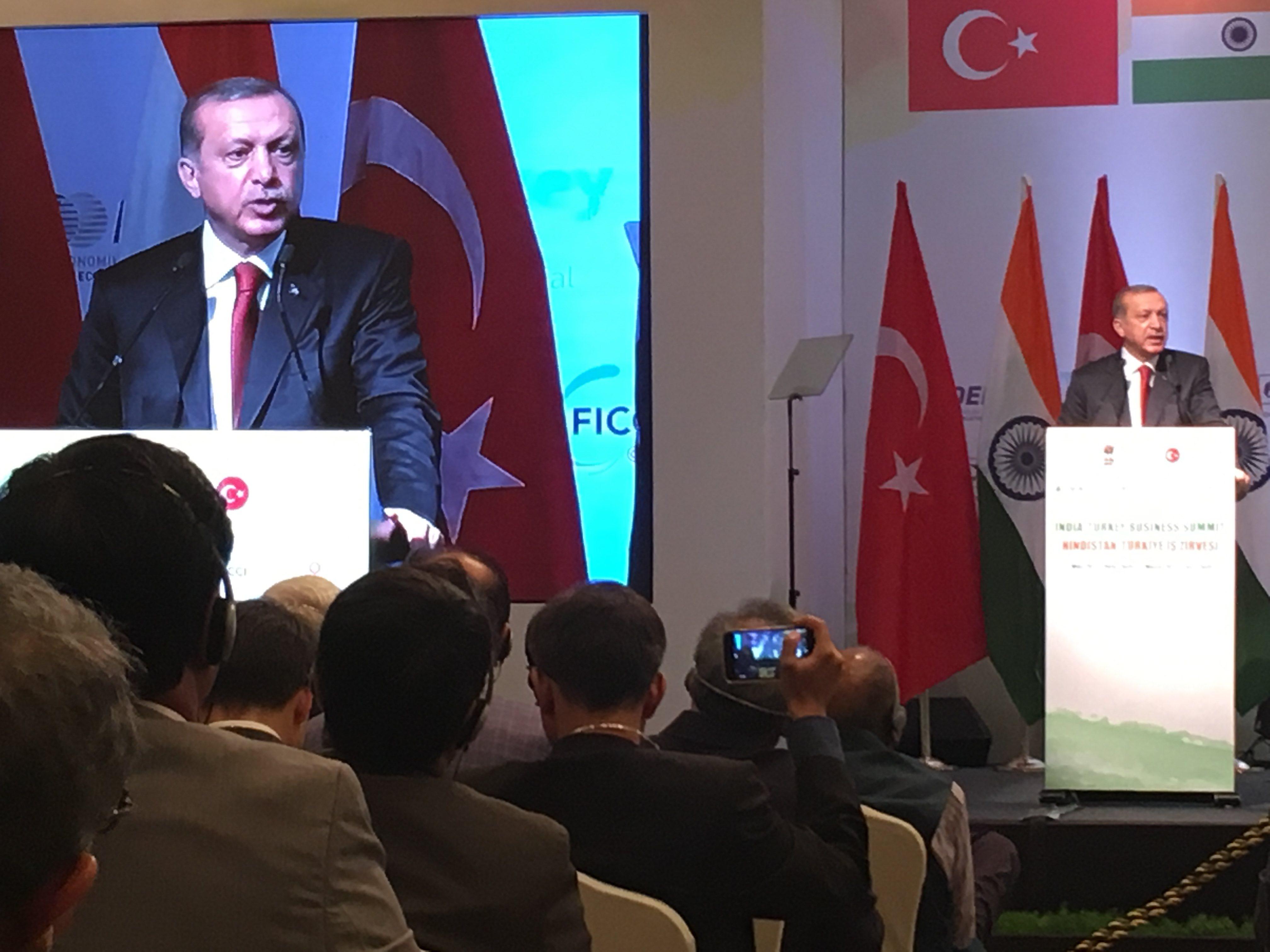 Recep Tayyip Erdogan speaking in New Delhi. Credit: Shome Basu