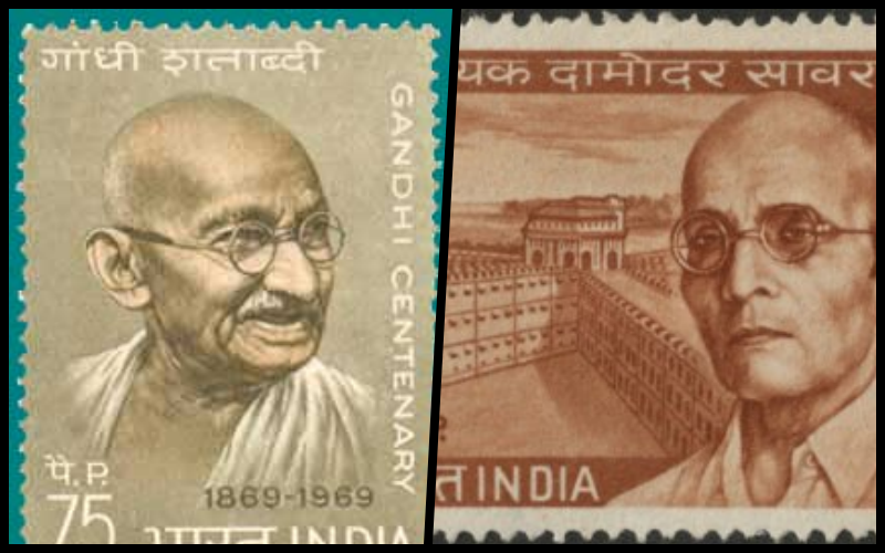 Stamps with pictures of Savarkar and Gandhi. Credit: Wikimedia Commons