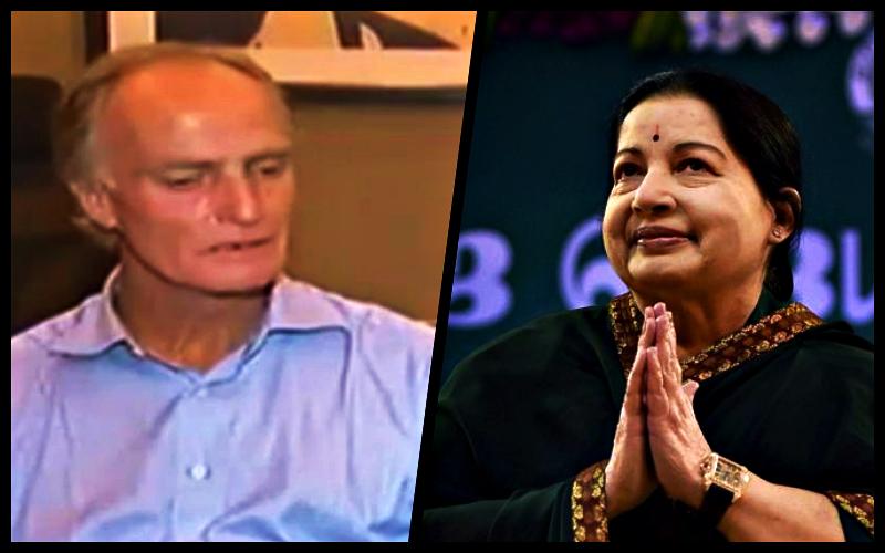 Peter Jones and J. Jayalalithaa. Credit: India Today screengrab/PTI