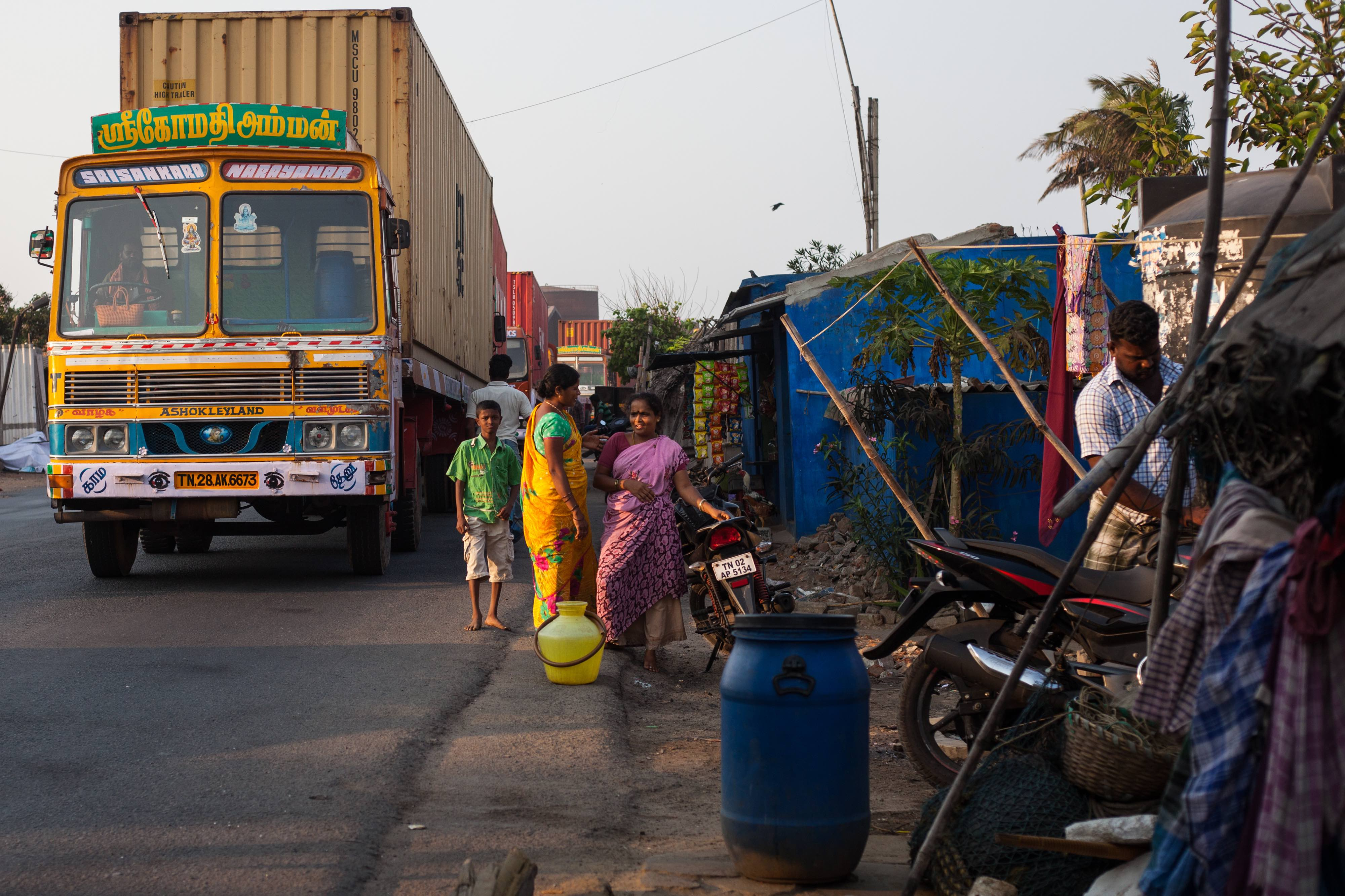 Residents of NTO Kuppam, Chennai, have tried to adapt to the increasing encroachment of heavy industry and traffic on their village. Credit: Greg McNevin, Unmask My City