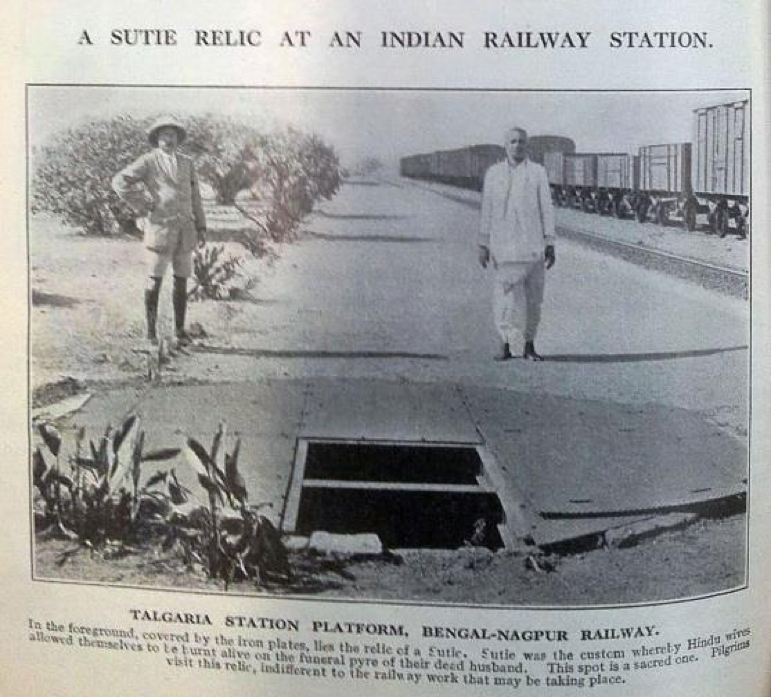 'A Sutie Relic at an Indian Railway Station'. Source: The Railway Magazine, LIII, July to December 1923