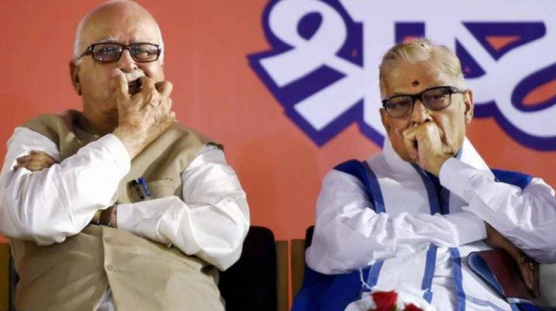 L.K. Advani, Murli Manohar Joshi (seen above in photo) and Uma Bharti will present themselves in a special CBI court today for framing of charges in the Babri Masjid demolition case. Credit: PTI