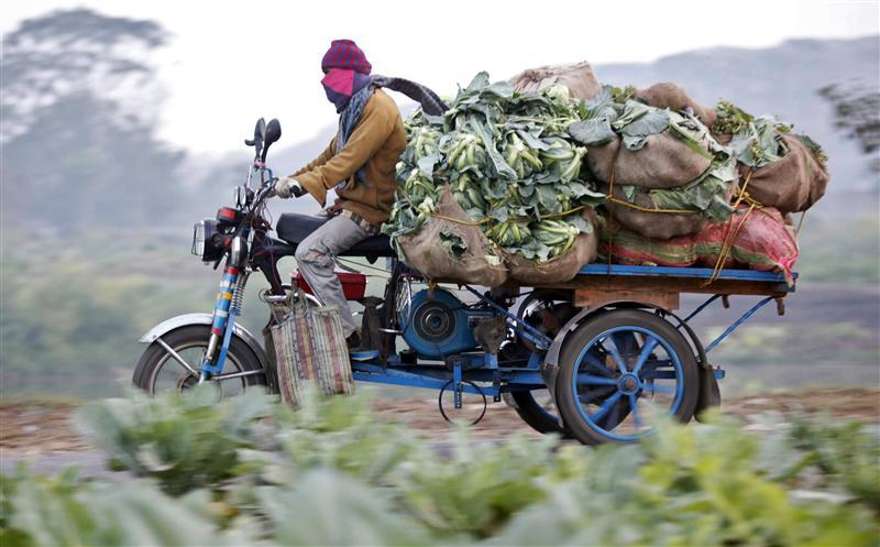 A farmer transports vegetables on an improvised tricycle towards a wholesale agricultural market in Kolkata. Credit: Reuters/Rupak De Chowdhuri