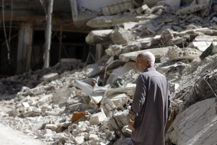 The philosophical foundation for the Geneva Convention is the notion that the theatre of war is confined to defined 'conflict spaces'. Credit: Bassam Khabieh/Reuters