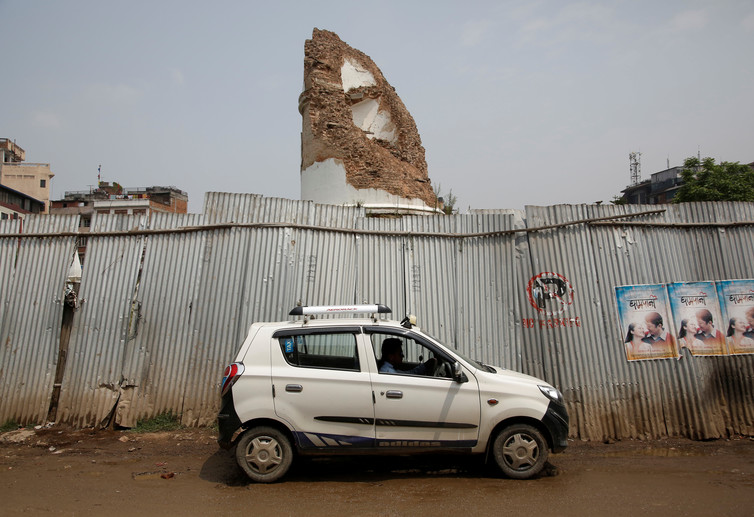 The historic nine-storey Dharahara tower in Kathmandu, two years after it was severely damaged. Credit: Reuters/Navesh Chitrakar