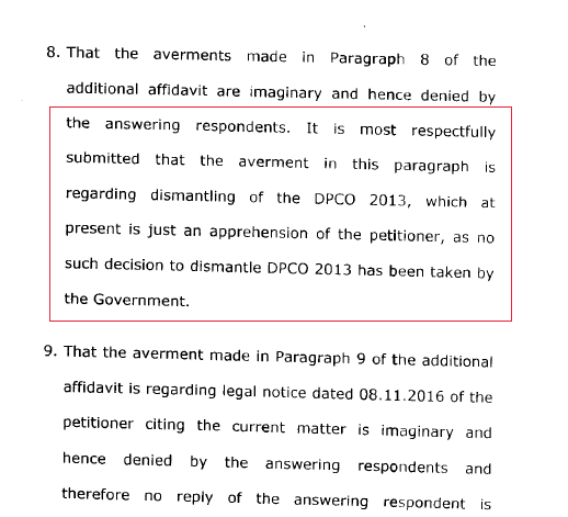 Excerpt from the government's affidavit in the Supreme Court in January 2017