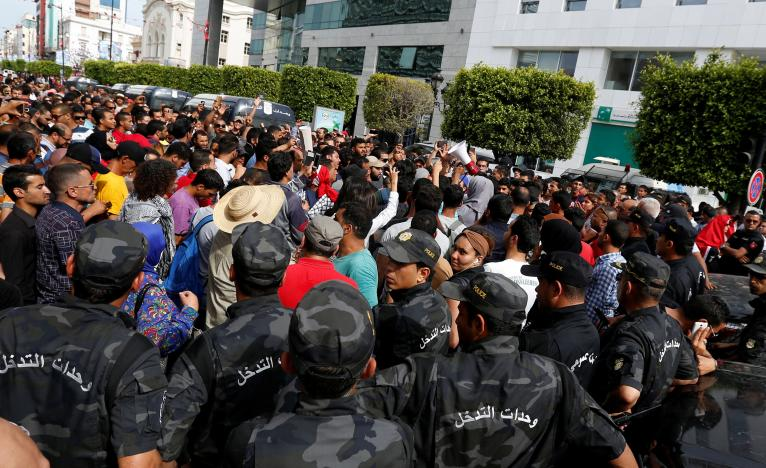 Tunisian Forces Clash With Protesters