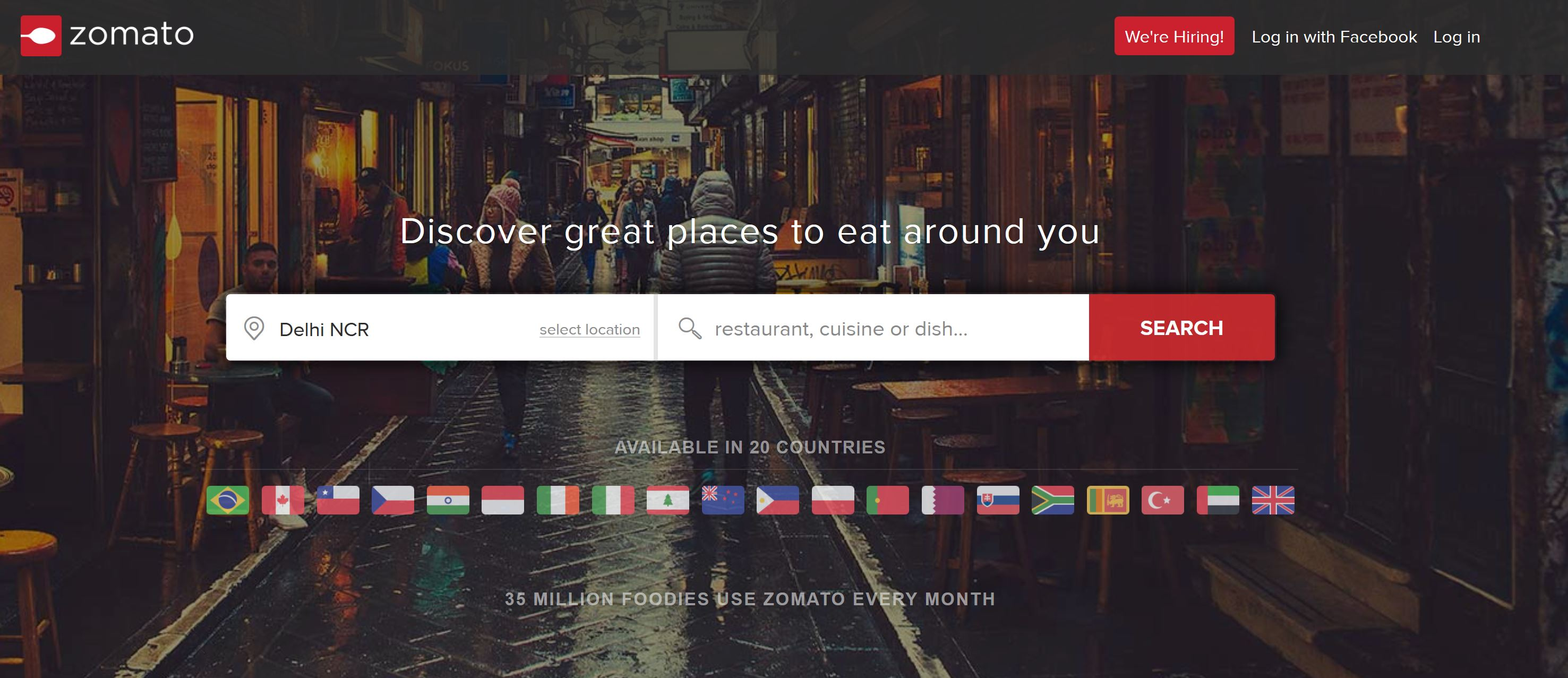 zomato info Zomato lets you search for and discover restaurants to eat out at or order in from  browse through restaurant menus, photos, user reviews and ratings to decide.
