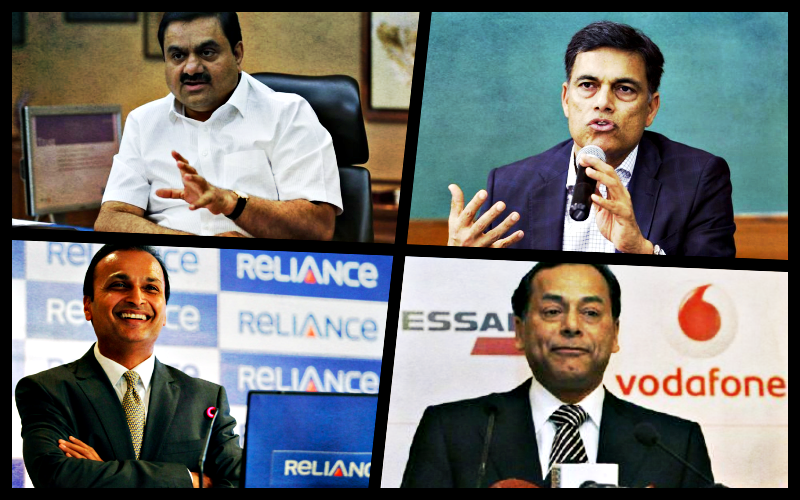 (Clockwise from top L) Gautam Adani, Sajjan Jindal, Ravi Ruia and Anil Ambani. Credit: Reuters
