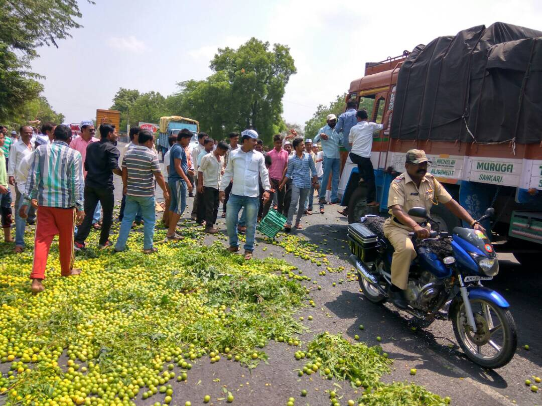 Fruits thrown on the road during the protest. Credit: Varsha Torgalkar