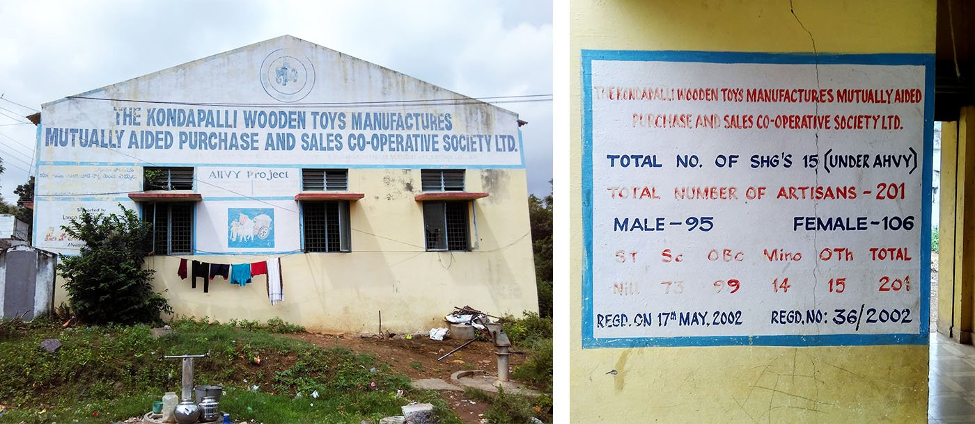 The office of the cooperative society started by the artisans and (right) data about toy-makers in the village. Credit: Rahul Maganti
