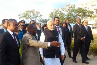 Prime Minister Narendra Modi at the Centre for Innovation and Technological Development) at Maluana, Mozambique that has been built by Jaguar Overseas Limited. Credit: jaguaroverseas.com