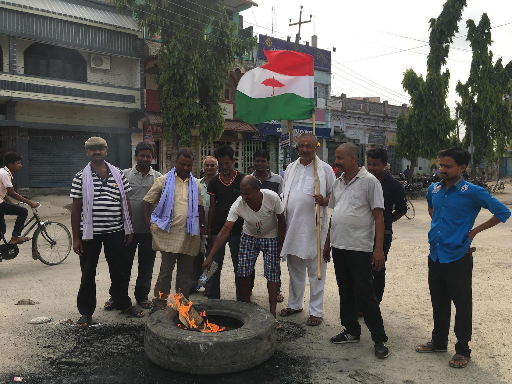 RJP activists burn tires in Rajbiraj.