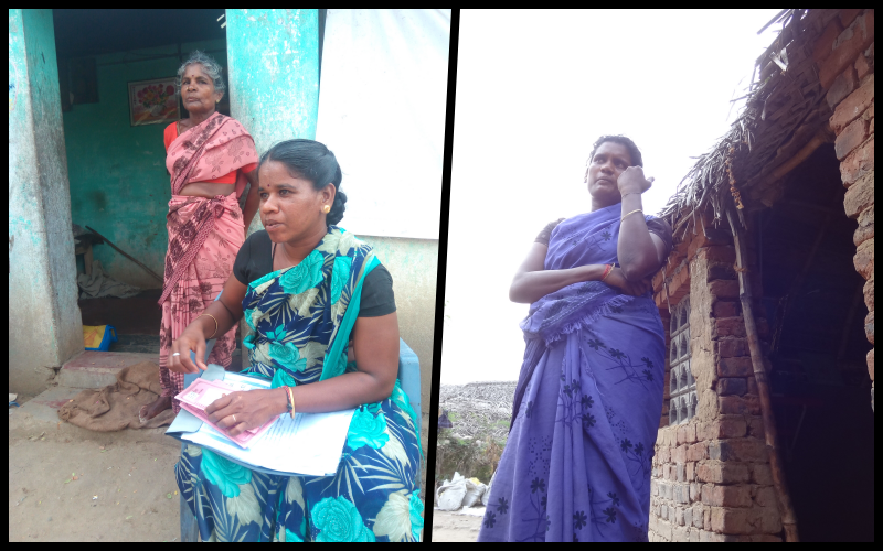 Kavitha and Arokyamary share the painful fallout of a biting drought in the Cauvery delta region in Tamil Nadu. Their young husbands, both tenant farmers, died of heart attacks that are being termed as shock deaths. Credit: Jaideep Hardikar