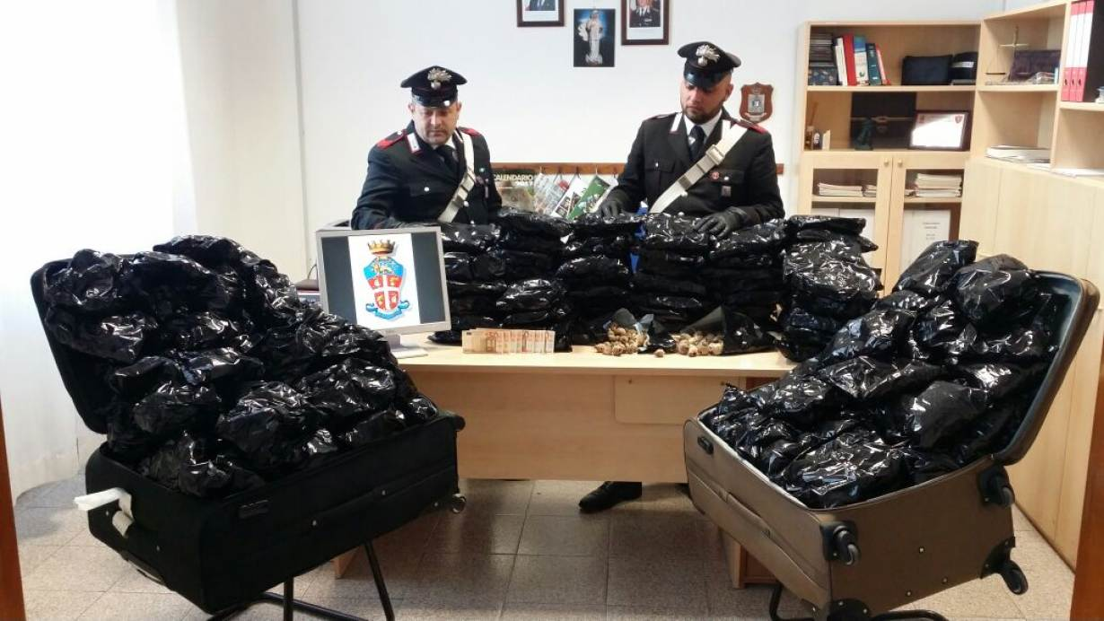 Police show 18 kilograms of dried poppy pods and cash seized during an arrest in Sabaudia, Latina, Italy. Credit: May 6, 2017. Police handout via Thomson Reuters