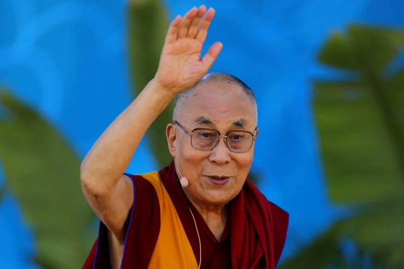 "The Dalai Lama waves as he leaves after speaking on ""Embracing the Beauty of Diversity in our World"" to thousands at the UC San Diego campus in San Diego, California, US, June 16, 2017. Credit: Reuters/ Mike Blake/Files"