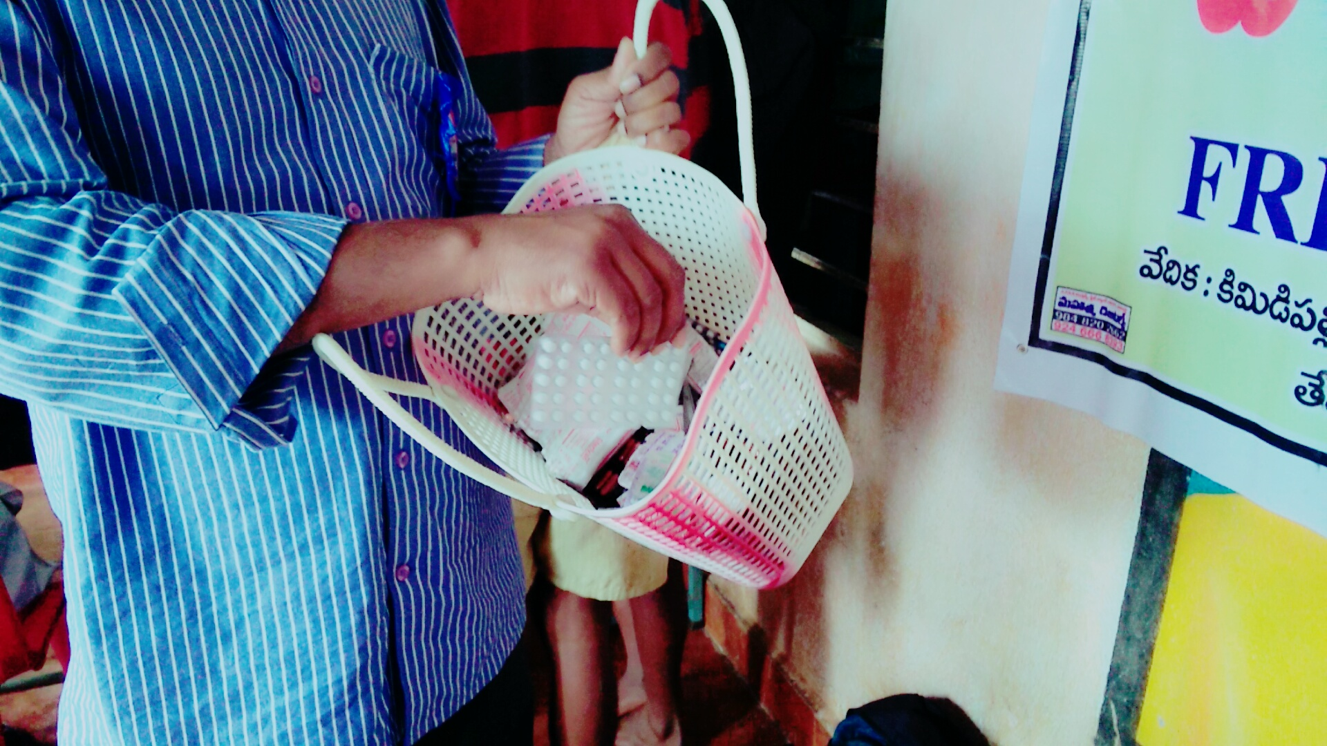 The basket in which the ANM carries the drugs. Credit: Pavan Korada