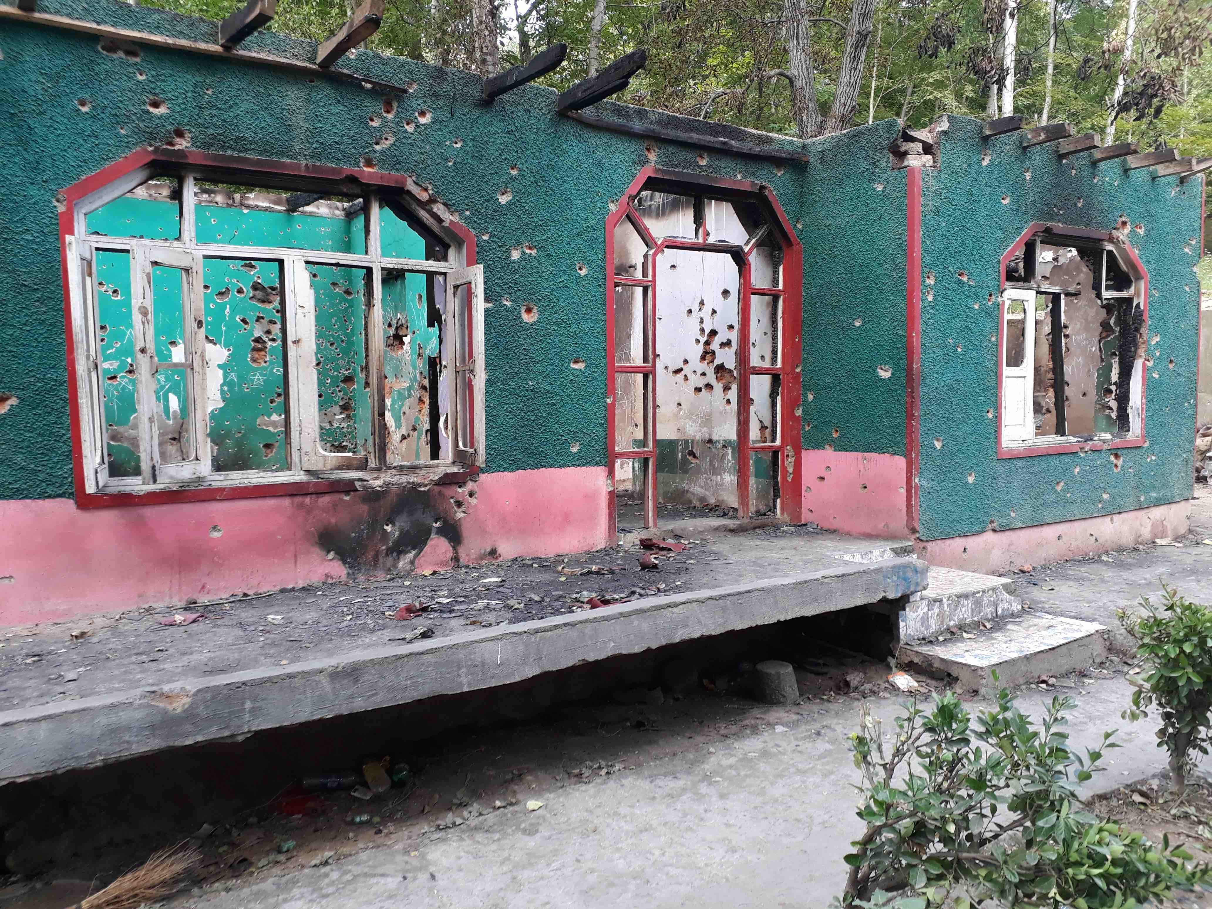 The ashen walls of the house in Redbugh village of Budgam district in Jammu and Kashmir where the militants were killed. Credit: Mudasir Ahmad