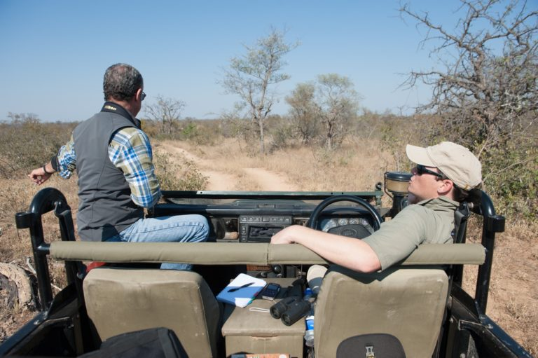 Brett Horley (r) with the author on the savanna of a private reserve near Kruger. Credit: Justin Catanoso