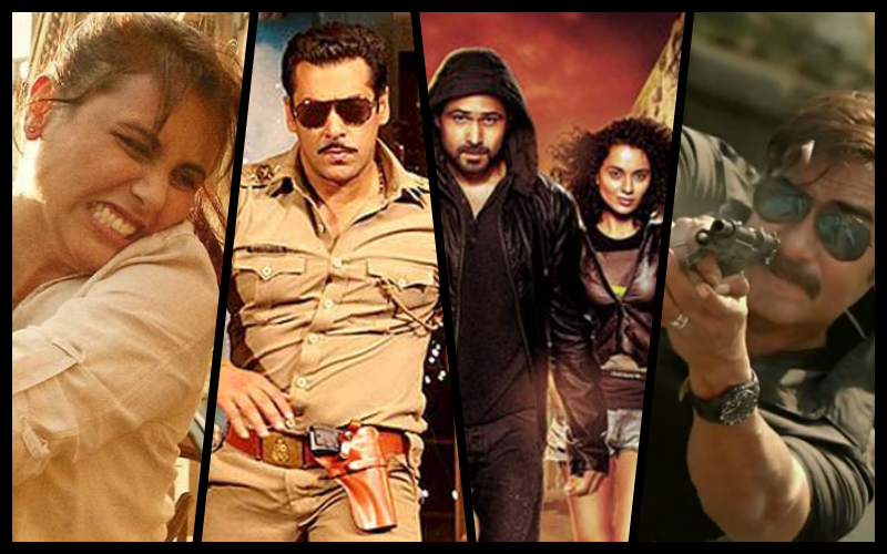 Stills from <em>Mardaani</em>, <em>Dabangg</em>, <em>Ungli</em> and <em>Singham</em>, all Bollywood movies romanticising vigilantism.