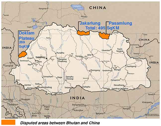 Map of disputed areas between Bhutan and China. Credit: Indian Defence Review