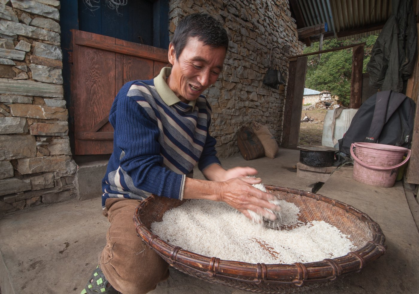 The Brokpa mostly eat rice (bought from markets at lower altitudes) and yak meat. They eat only a few vegetables like potatoes because the land here is not fertile enough to cultivate vegetables. Credit: Ritayan Mukherjee