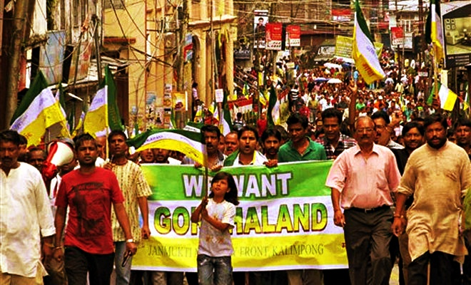 A protest march organised by the Gorkhaland Janmukti Morcha in the Darjeeling hills. Credit: PTI/Files