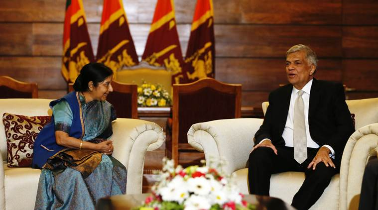 India's external affairs minister Sushma Swaraj (L) talks to with Sri Lanka's Prime Minister Ranil Wickremesinghe during their meeting in Colombo, Sri Lanka February 5, 2016. Credit: Reuters/Dinuka Liyanawatte