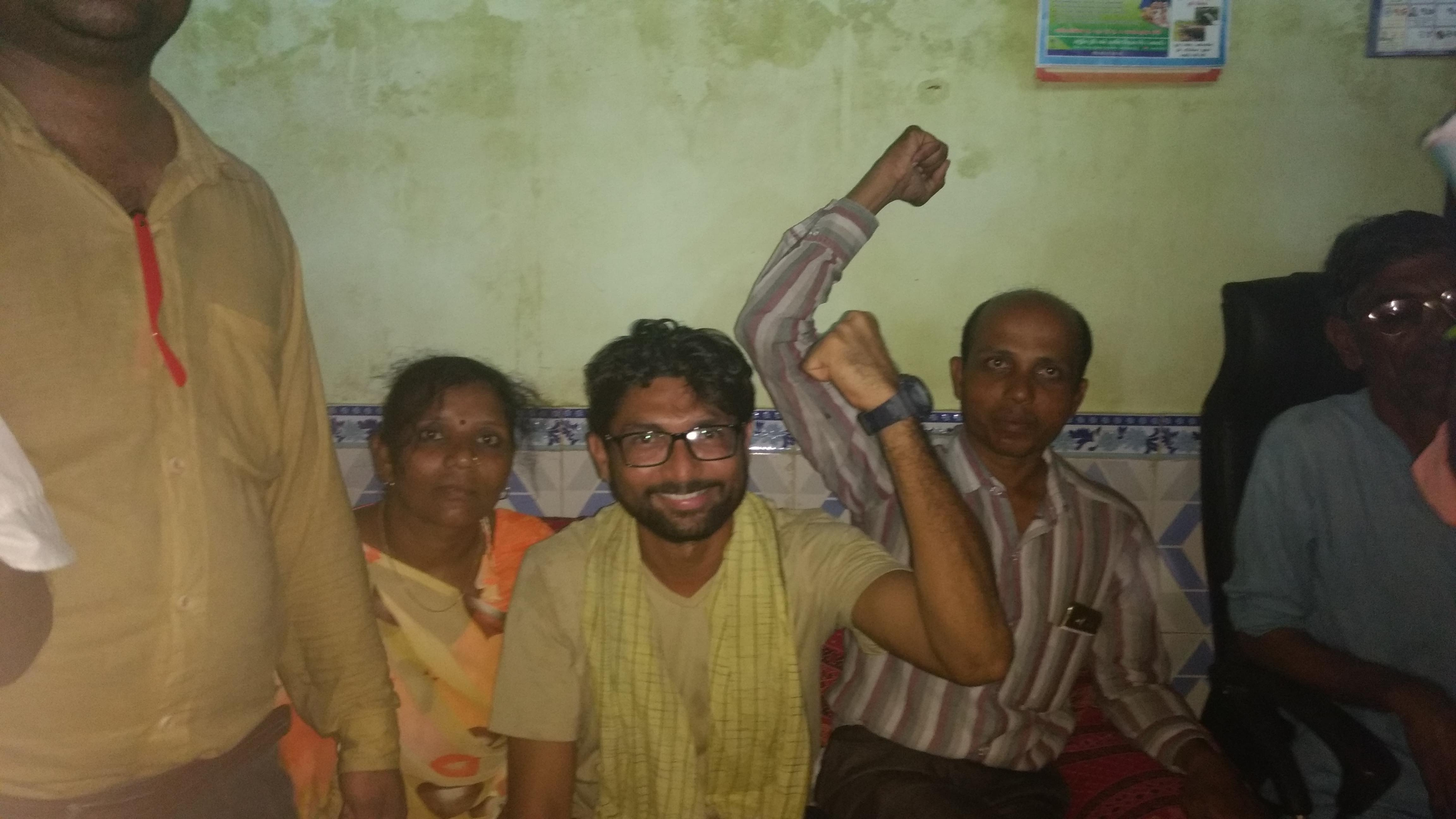 Jignesh Mevani and others participating in the Azadi Kooch. Credit: Damayantee Dhar