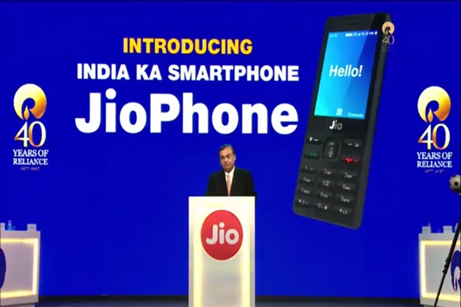 The JioPhone is Reliance's attempt at cornering rural users, low-income users who still haven't migrated to smartphones. Credit: Reliance