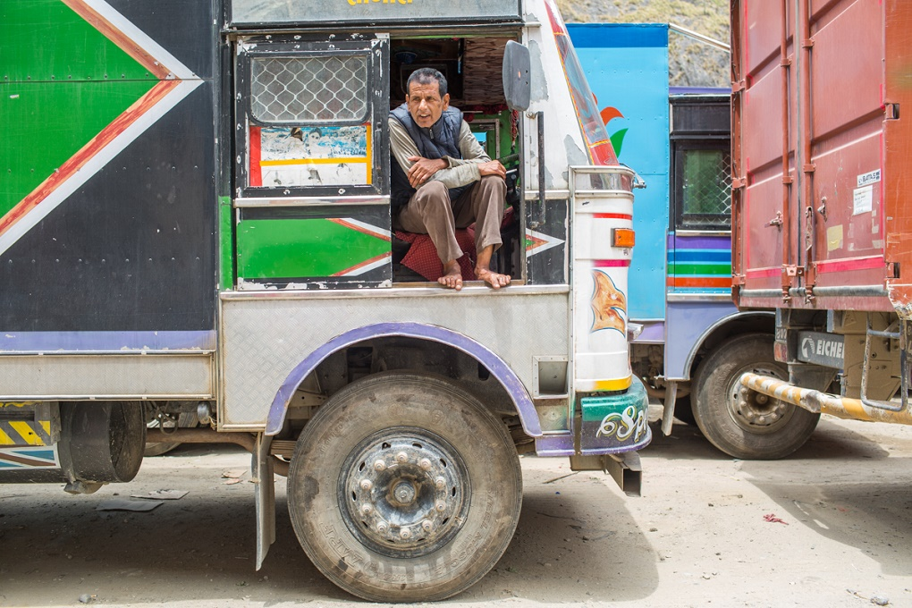Rana Bahadur Lamichhane, a truck driver and owner waits for his turn to enter to Tibet at Rasuwagadhi. Its been two weeks he is on the queue.