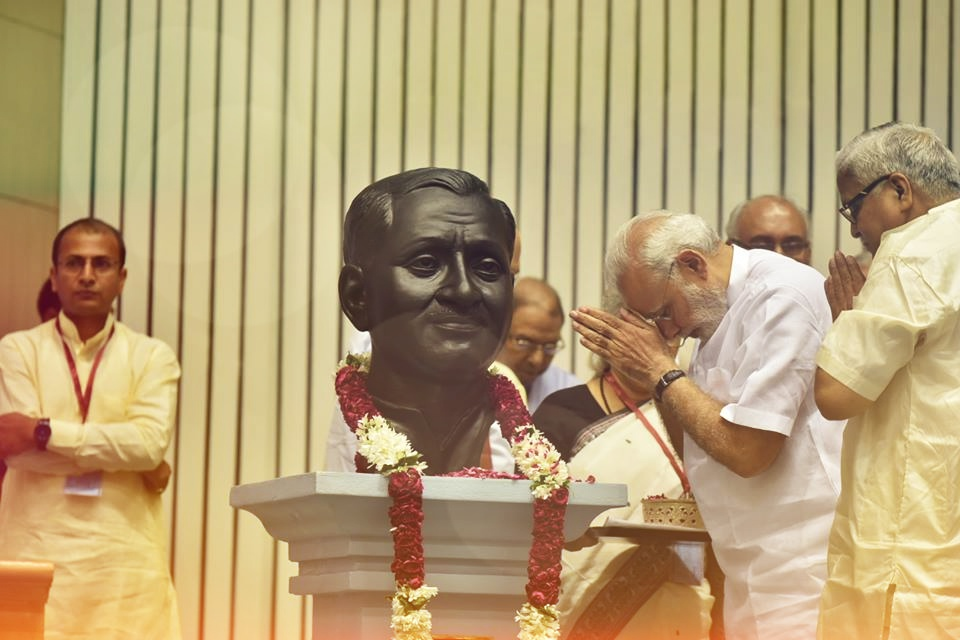 Prime Minister Narendra Modi pays tributes to Deendayal Upadhyay. Credit: Wikimedia Commons