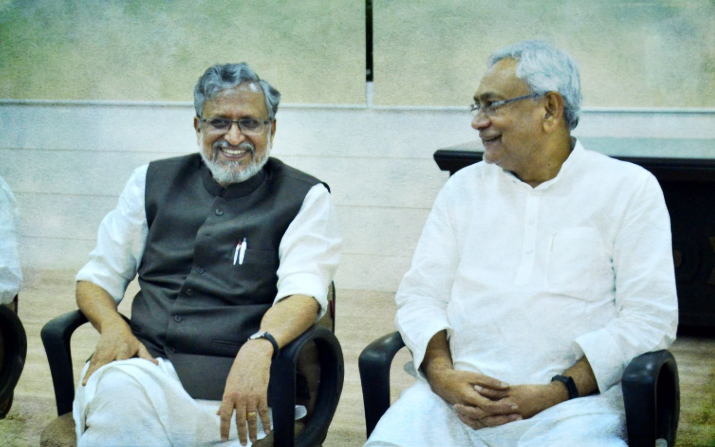 Nitish Kumar and Sushil Modi at their swearing in on Thursday. Credit: PTI