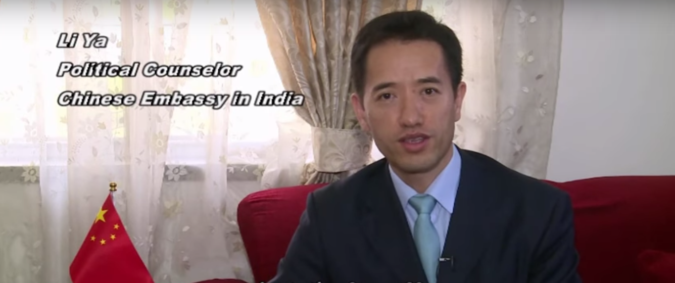 Li Ya, political counsellor at the Chinese embassy in India. Credit: YouTube