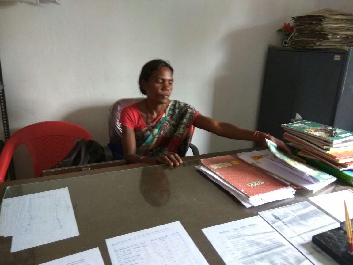 Shyama Singh at the Namudag panchayat office. Credit: Jahnavi Sen