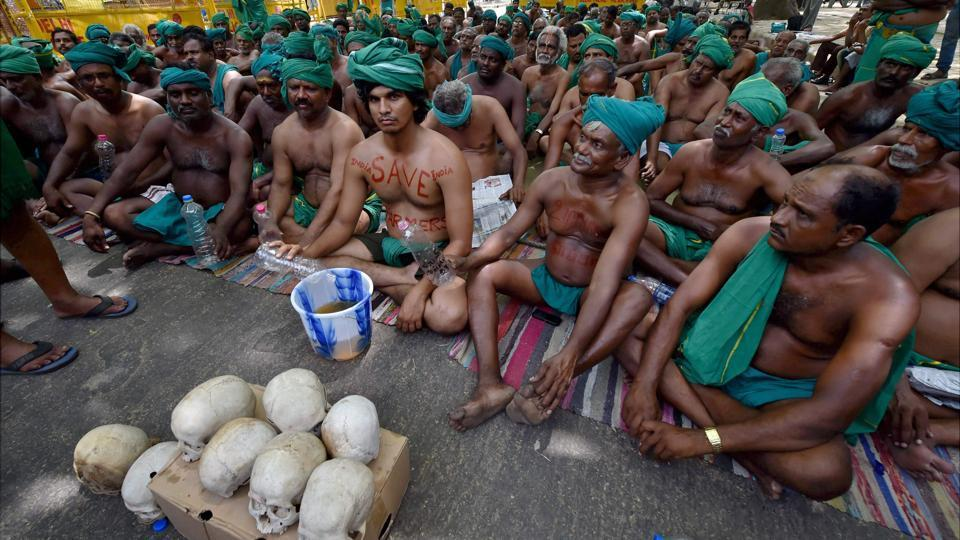 Tamil Nadu farmers during their protest at Jantar Mantar in New Delhi in April. Credit: PTI