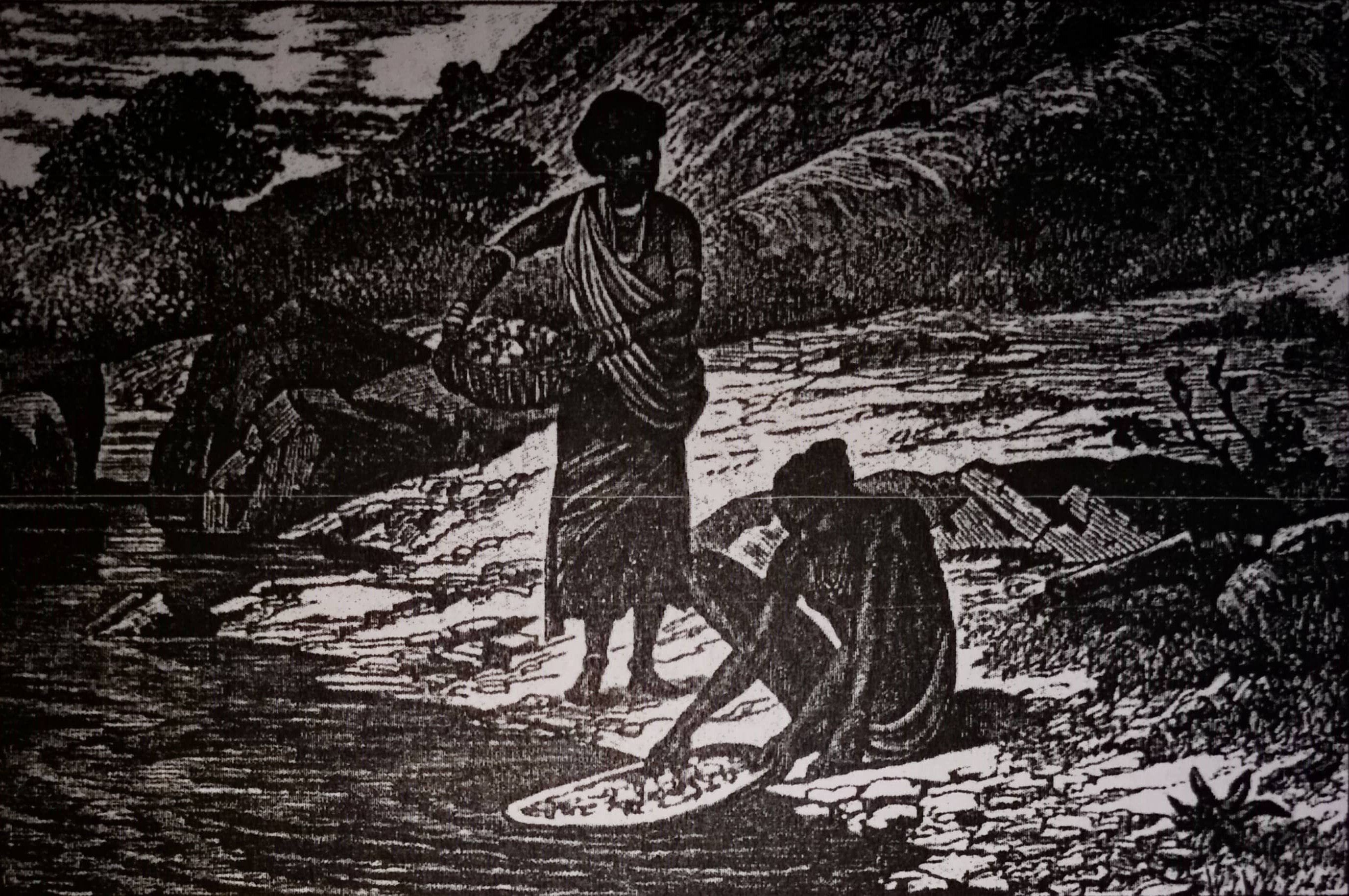 An illustration of locals panning for gold dust. Credit: Lock (1882)