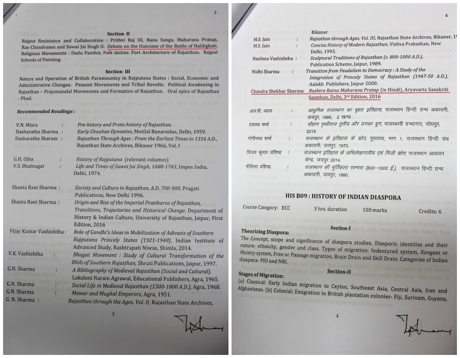 Left: MA History syllabus mentioning 'Debate on the outcome of the battle of Haldighati' Right: Rashtra Ratna Maharana Pratap is in the recommended reading list. Credit: Shruti Jain