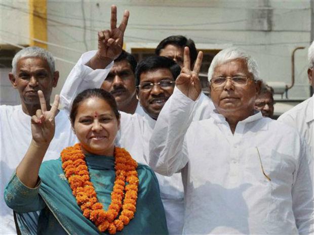 Lalu Prasad Yadav and Misa Bharti. Credit: PTI