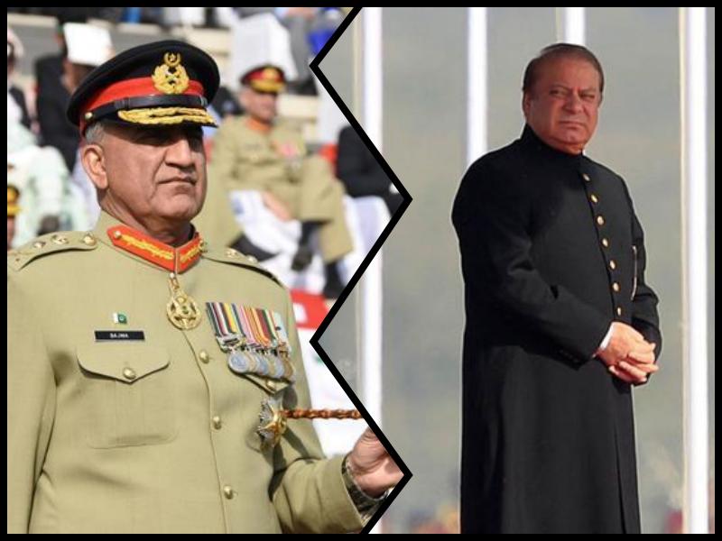 Pakistan army chief General Qamar Javed Bajwa (left), Nawaz Sharif. Credit: Reuters