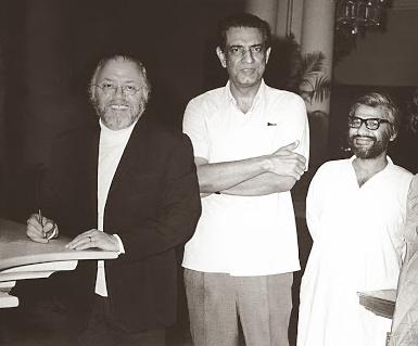 Suresh Jindal, producer of <em>Shatranj ke Khiladi</em>, with Satyajit Ray and Sir Richard Attenborough. Credit: Suresh Jindal