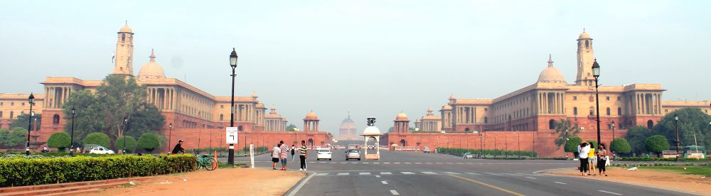 As one looks at the Raisina Hill buildings from Vijay Chowk, the Viceroy's House disappears and only its dome is visible.