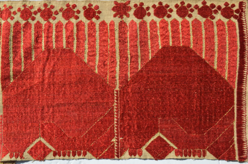 Phulkaris embroidered by Neera Burra's great grandmother in Chakwal in the mid-19th century, which were in one of the trunks that came from Lahore in August 1947. Courtesy: Neera Burra