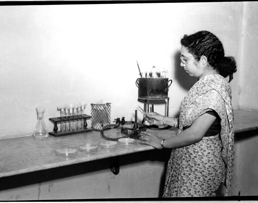 A woman scientist on research work at the Indian Agricultural Research Institute, NewDelhi, 1951. Caption and credit: publicresourceorg/Flickr, CC BY 2.0